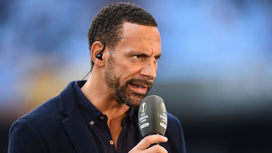 VIGO, SPAIN - MAY 04:  Ex-Man Utd player and pundit Rio Ferdinand looks on prior to the UEFA Europa League semi final, first leg match between Celta Vigo and Manchester United at the Estadio Balaidos on May 4, 2017 in Vigo, Spain.  (Photo by David Ramos/Getty Images)