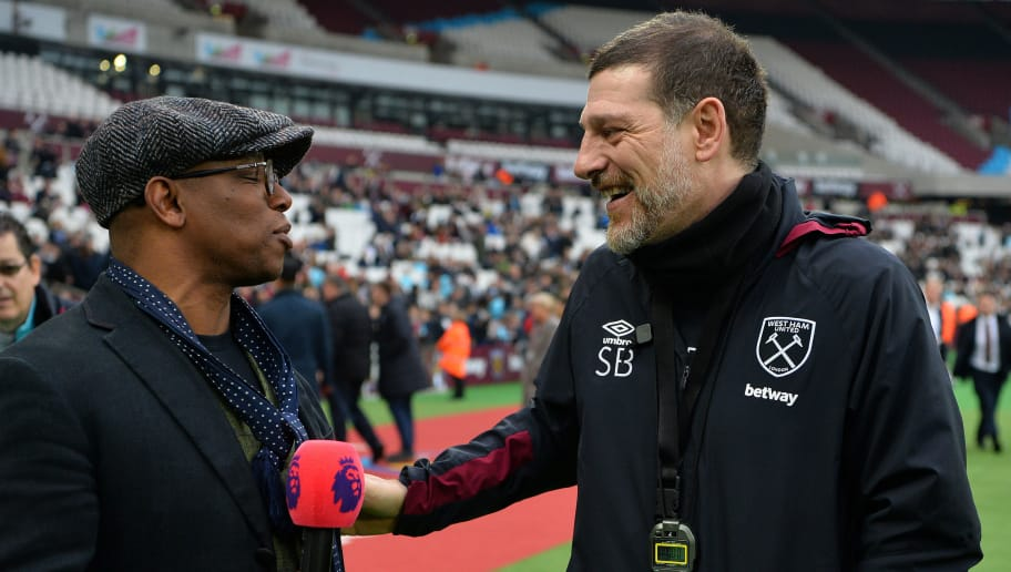 LONDON, ENGLAND - FEBRUARY 15:  Ian Wright, former West Ham United player shares a joke with Slaven Bilic, Manager of West Ham United during a West Ham United family fun day at London Stadium on February 15, 2017 in London, England. (Photo by Dan Mullan/Getty Images)