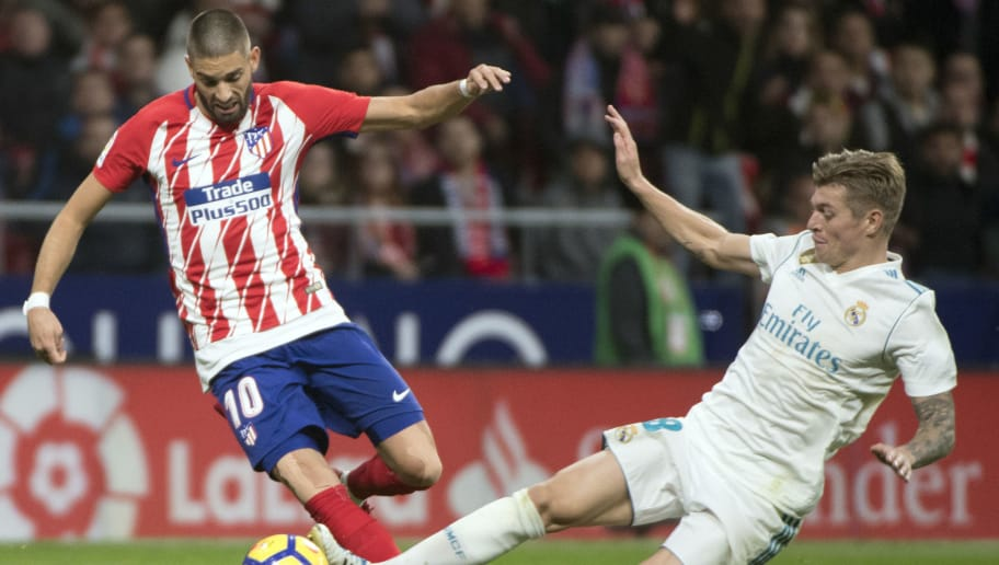 e9a05cc9d Atletico Madrid s Belgian midfielder Yannick Ferreira-Carrasco (L) vies  with Real Madrid s German