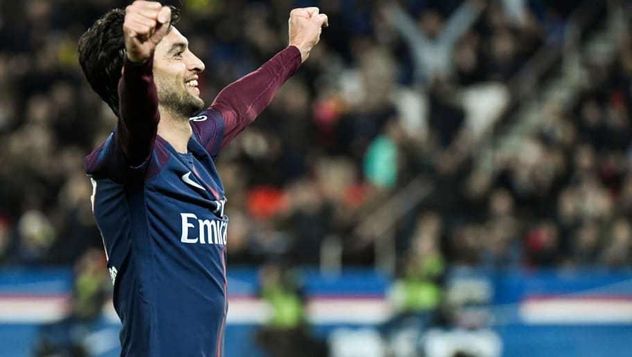 Paris Saint-Germain's Argentinian midfielder Javier Pastore celebrates after he scored his team's third goal during the French L1 football match between Paris Saint-Germain (PSG) and Nantes (FCN) at the Parc des Princes stadium in Paris on November 18, 2017. / AFP PHOTO / BERTRAND GUAY        (Photo credit should read BERTRAND GUAY/AFP/Getty Images)