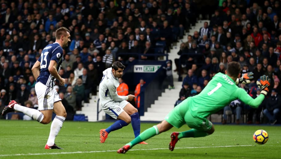 WEST BROMWICH, ENGLAND - NOVEMBER 18:  Alvaro Morata of Chelsea scores the opening goal during the Premier League match between West Bromwich Albion and Chelsea at The Hawthorns on November 18, 2017 in West Bromwich, England.  (Photo by Catherine Ivill/Getty Images)