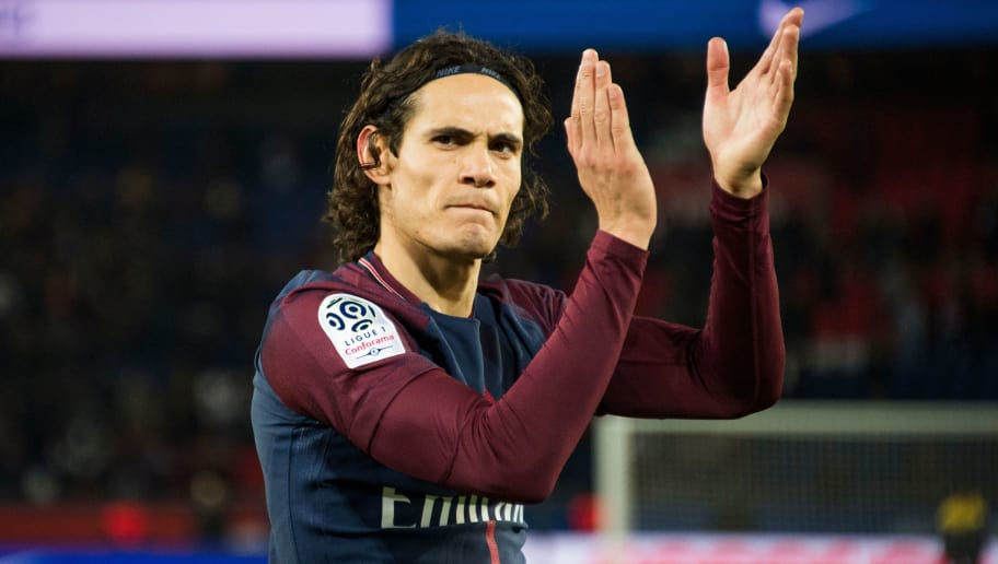 Paris Saint-Germain's Uruguayan forward Edinson Cavani reacts after the French L1 football match between Paris Saint-Germain (PSG) and Nantes (FCN) at the Parc des Princes stadium in Paris on November 18, 2017. / AFP PHOTO / Bertrand GUAY        (Photo credit should read BERTRAND GUAY/AFP/Getty Images)