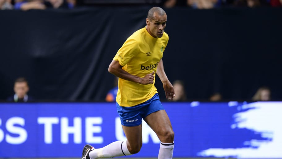 Brazil's Rivaldo runs with the ball during the Star Sixes football match between Brazil and Italy at the O2 Arena in London on July 13, 2017.  Star Sixes is the first-ever competitive tournament for world-renowned former international footballers. Twelve national teams featuring a host of stellar names go head-to-head at Londons iconic O2 Arena in an exciting six-a-side competition with the inaugural Star Sixes trophy at stake. / AFP PHOTO / OLLY GREENWOOD        (Photo credit should read OLLY GREENWOOD/AFP/Getty Images)