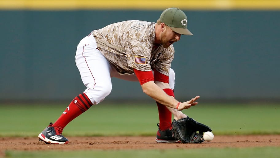 CINCINNATI, OH - SEPTEMBER 19:  Patrick Kivlehan #3 of the Cincinnati Reds fields a ground ball hit by Yadier Molina #4 of the St. Louis Cardinals during the second inning at Great American Ball Park on September 19, 2017 in Cincinnati, Ohio. (Photo by Kirk Irwin/Getty Images)