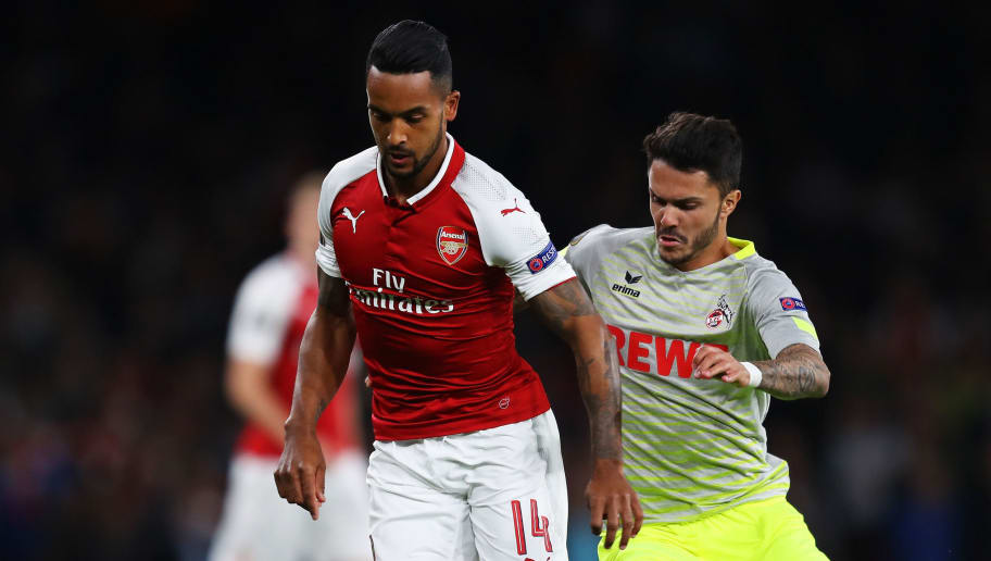 LONDON, ENGLAND - SEPTEMBER 14:  Theo Walcott of Arsenal and Leonardo Bittencourt of FC Koeln in action during the UEFA Europa League group H match between Arsenal FC and 1. FC Koeln at Emirates Stadium on September 14, 2017 in London, United Kingdom.  (Photo by Richard Heathcote/Getty Images)