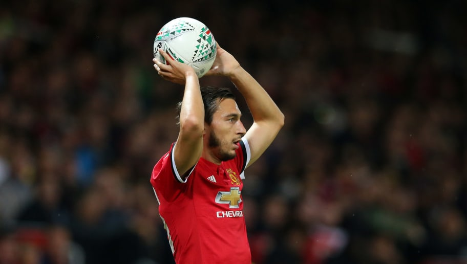 MANCHESTER, ENGLAND - SEPTEMBER 20:  Matteo Darmian of Manchester United takes a throw in during the Carabao Cup Third Round match between Manchester United and Burton Albion at Old Trafford on September 20, 2017 in Manchester, England.  (Photo by Alex Livesey/Getty Images)