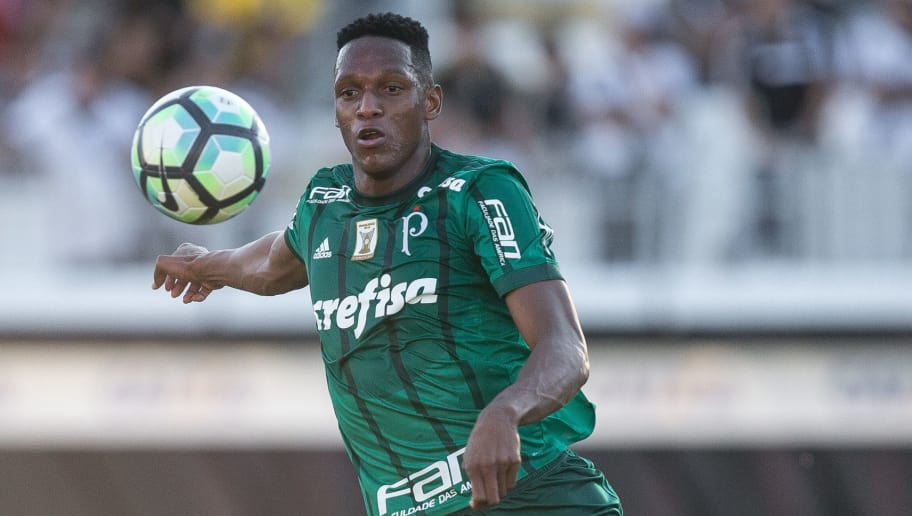 CAMPINAS, BRAZIL - JUNE 25: Yerry Mina #26 of Palmeiras in action during the match between Ponte Preta and Palmeiras as a part of Campeonato Brasileiro 2017 at Moises Lucarelli Stadium on June 25, 2017 in Campinas, Brazil. (Photo by Ricardo Nogueira/Getty Images)