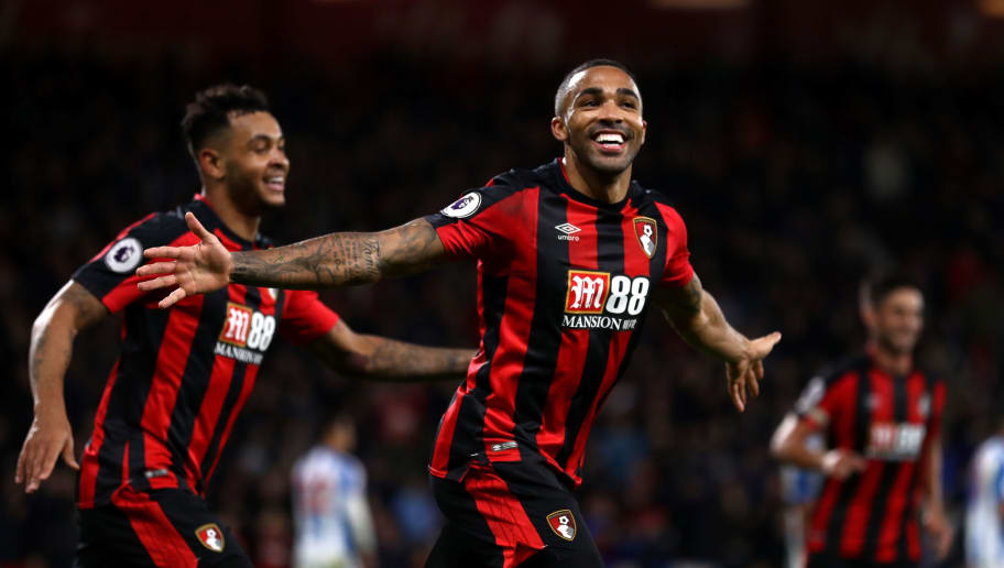BOURNEMOUTH, ENGLAND - NOVEMBER 18:  Callum Wilson of AFC Bournemouth celebrates his side's fourth and his hat trick goal during the Premier League match between AFC Bournemouth and Huddersfield Town at Vitality Stadium on November 18, 2017 in Bournemouth, England.  (Photo by Bryn Lennon/Getty Images)