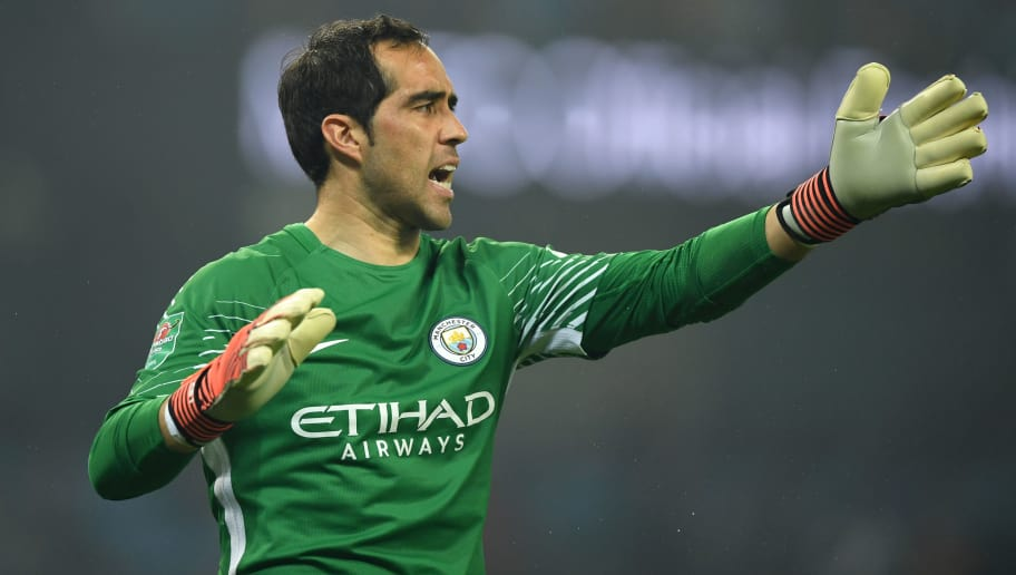 MANCHESTER, ENGLAND - OCTOBER 24:  Claudio Bravo of Manchester City during the Carabao Cup Fourth Round match between Manchester City and Wolverhampton Wanderers at Etihad Stadium on October 24, 2017 in Manchester, England.  (Photo by Gareth Copley/Getty Images)