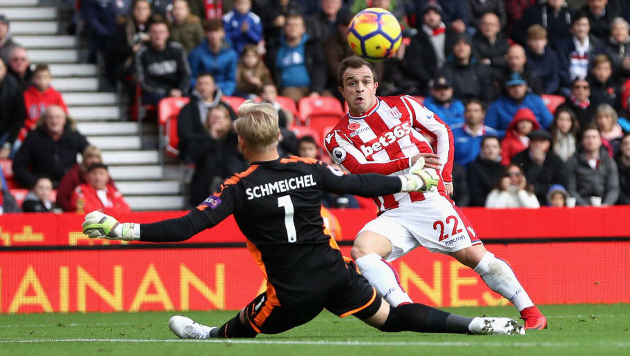 STOKE ON TRENT, ENGLAND - NOVEMBER 04:  Xherdan Shaqiri of Stoke City scores his sides first goal past Kasper Schmeichel of Leicester City during the Premier League match between Stoke City and Leicester City at Bet365 Stadium on November 4, 2017 in Stoke on Trent, England.  (Photo by Matthew Lewis/Getty Images)