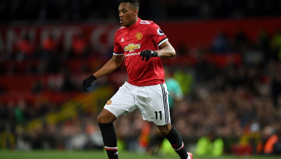MANCHESTER, ENGLAND - NOVEMBER 18:  Anthony Martial of Manchester United during the Premier League match between Manchester United and Newcastle United at Old Trafford on November 18, 2017 in Manchester, England.  (Photo by Gareth Copley/Getty Images)