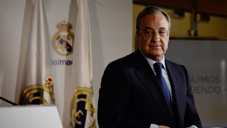 Real Madrid president, Florentino Perez looks on after a press conference following his re-election for the club's presidency at the Santiago Bernabeu stadium in Madrid, on June 19, 2017. Florentino Perez will remain as president of Real Madrid until 2021 after no other candidates ran against him, the Spanish and European champions announced. / AFP PHOTO / JAVIER SORIANO        (Photo credit should read JAVIER SORIANO/AFP/Getty Images)