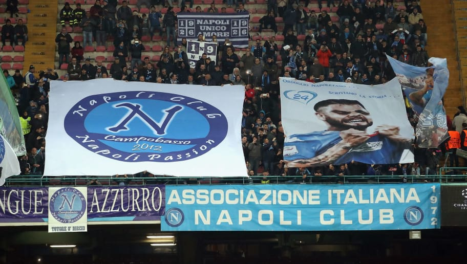 NAPLES, ITALY - NOVEMBER 21: Fans of Napoli  during the UEFA Champions League group F match between SSC Napoli and Shakhtar Donetsk at Stadio San Paolo on November 21, 2017 in Naples, Italy.  (Photo by Maurizio Lagana/Getty Images)