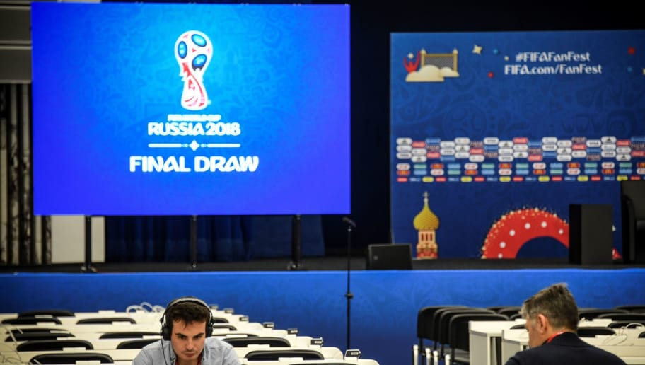 Technicians work at the FIFA World Cup 2018 Final Draw media centre at the State Kremlin Palace in downtown Moscow on November 28, 2017. / AFP PHOTO / Alexander NEMENOV        (Photo credit should read ALEXANDER NEMENOV/AFP/Getty Images)