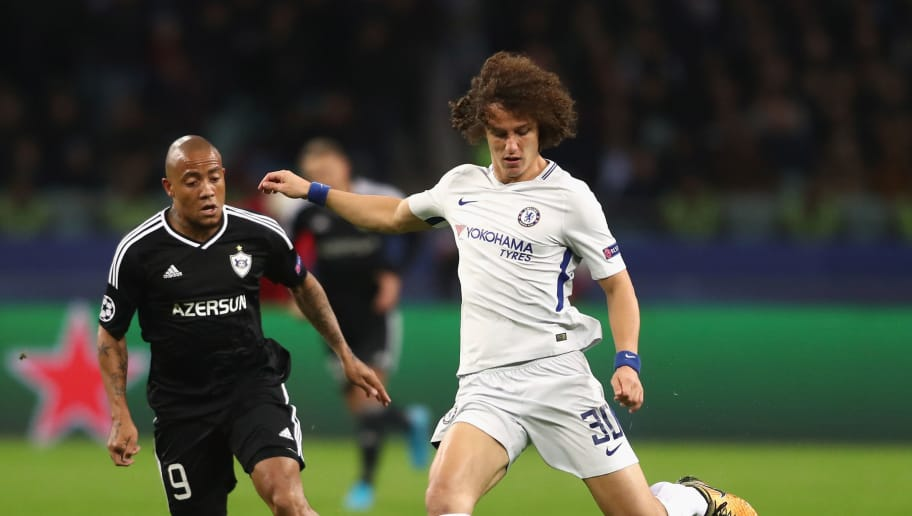 BAKU, AZERBAIJAN - NOVEMBER 22: David Luiz of Chelsea in action during the UEFA Champions League group C match between Qarabag FK and Chelsea FC at Baki Olimpiya Stadionu on November 22, 2017 in Baku, Azerbaijan.  (Photo by Francois Nel/Getty Images)