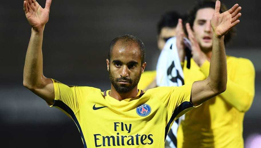Paris Saint-Germain's Brazilian midfielder Lucas Moura reacts at the end of the French L1 football match between Angers (SCO) and Paris Saint-Germain (PSG) at the Raymond Kopa Stadium in Angers, on November 4, 2017.  PSG won the match 5-0. / AFP PHOTO / FRANCK FIFE        (Photo credit should read FRANCK FIFE/AFP/Getty Images)