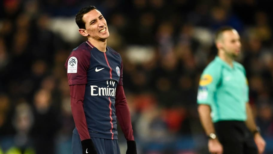 Paris Saint-Germain's Argentinian forward Angel Di Maria reacts during the French L1 football match between Paris Saint-Germain (PSG) and Troyes at the Parc des Princes stadium in Paris on November 29, 2017.  / AFP PHOTO / CHRISTOPHE SIMON        (Photo credit should read CHRISTOPHE SIMON/AFP/Getty Images)
