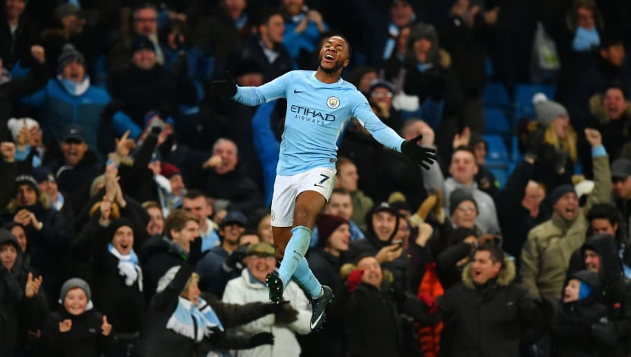 MANCHESTER, ENGLAND - NOVEMBER 29:  Raheem Sterling of Manchester City celebrates after scoring his sides second goal during the Premier League match between Manchester City and Southampton at Etihad Stadium on November 29, 2017 in Manchester, England.  (Photo by Dan Mullan/Getty Images)