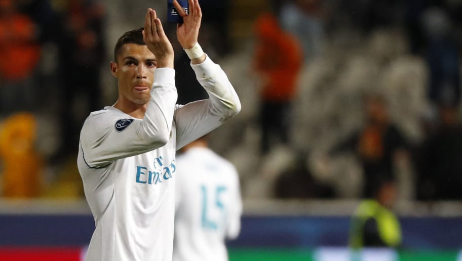 Real Madrid's Portuguese forward Cristiano Ronaldo gestures at the end of the UEFA Champions League Group H match between Apoel FC and Real Madrid on November 21, 2017, in the Cypriot capital Nicosia's GSP Stadium.  Real Madrid defeated Apeol 6-0. / AFP PHOTO / Jack GUEZ        (Photo credit should read JACK GUEZ/AFP/Getty Images)