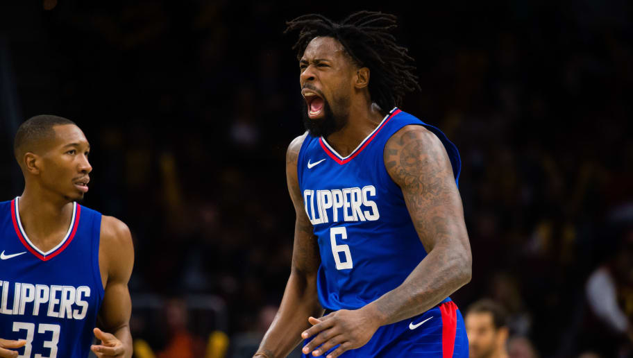 CLEVELAND, OH - NOVEMBER 17: DeAndre Jordan #6 of the LA Clippers reacts to a call by officials during the second half against the Cleveland Cavaliers at Quicken Loans Arena on November 17, 2017 in Cleveland, Ohio. The Cavaliers defeated the Clippers 118-113 in overtime. NOTE TO USER: User expressly acknowledges and agrees that, by downloading and/or using this photograph, user is consenting to the terms and conditions of the Getty Images License Agreement. (Photo by Jason Miller/Getty Images)