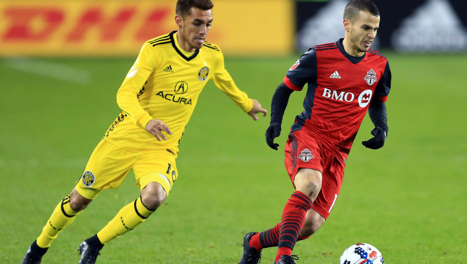 TORONTO, ON - NOVEMBER 29:  Sebastian Giovinco #10 of Toronto FC dribbles the ball as Hector Jimenez #16 gives chase during the second half of the MLS Eastern Conference Finals, Leg 2 game at BMO Field on November 29, 2017 in Toronto, Ontario, Canada.  (Photo by Vaughn Ridley/Getty Images)