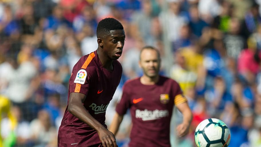 GETAFE, SPAIN - SEPTEMBER 16: Ousmane Dembele of FC Barcelona controls the ball during the La Liga match between Getafe and Barcelona at Coliseum Alfonso Perez on September 16, 2017 in Getafe, . (Photo by Denis Doyle/Getty Images)