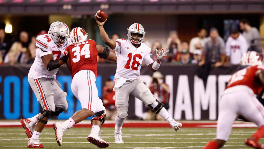 INDIANAPOLIS, IN - DECEMBER 02:  Quarterback J.T. Barrett #16 of the Ohio State Buckeyes throws a pass against the Wisconsin Badgers during the Big Ten Championship game at Lucas Oil Stadium on December 2, 2017 in Indianapolis, Indiana.  (Photo by Andy Lyons/Getty Images)