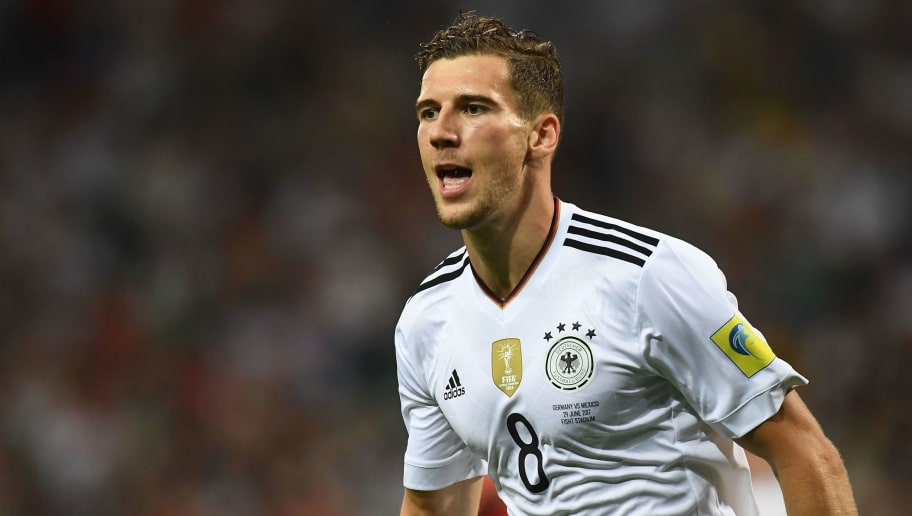 Germany's midfielder Leon Goretzka celebrates after scoring a goal during the 2017 FIFA Confederations Cup semi-final football match between Germany and Mexico at the Fisht Stadium in Sochi on June 29, 2017. / AFP PHOTO / FRANCK FIFE        (Photo credit should read FRANCK FIFE/AFP/Getty Images)