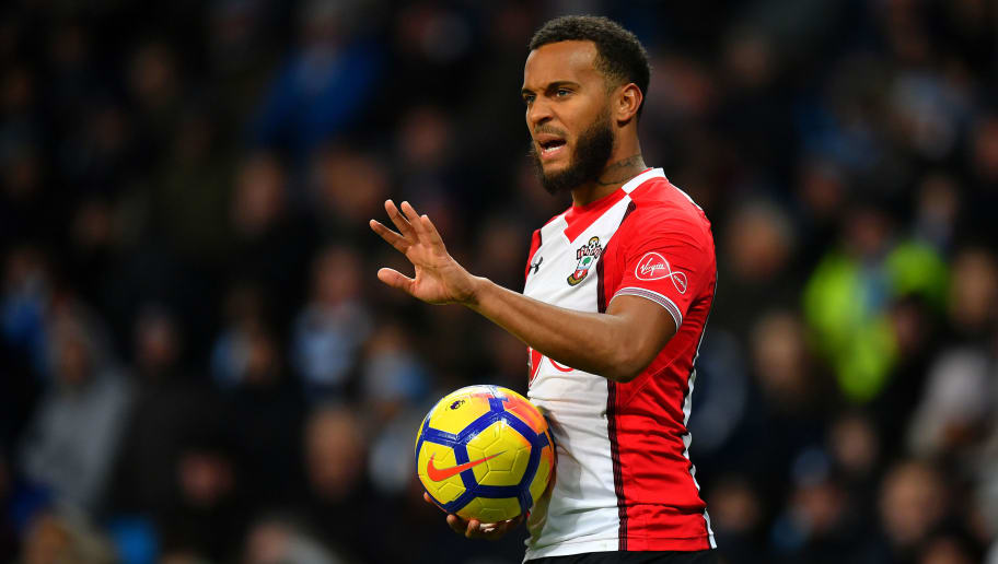 MANCHESTER, ENGLAND - NOVEMBER 29:  Ryan Bertrand of Southampton gestures during the Premier League match between Manchester City and Southampton at Etihad Stadium on November 29, 2017 in Manchester, England. (Photo by Dan Mullan/Getty Images)