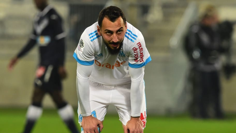 Olympique de Marseille's Greek forward Konstantinos Mitroglou reacts during the French Ligue 1 football match between Bordeaux and Marseille at The Matmut Atlantique Stadium in Bordeaux, southwestern France on November 19, 2017.  / AFP PHOTO / NICOLAS TUCAT        (Photo credit should read NICOLAS TUCAT/AFP/Getty Images)