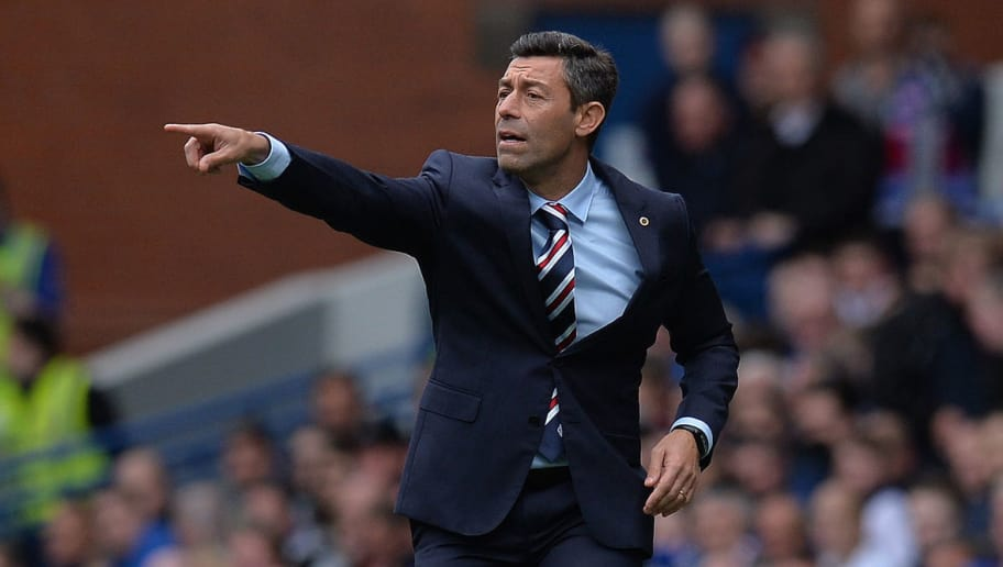 GLASGOW, SCOTLAND - AUGUST 12: Rangers manager Pedro Caixinha gestures during the Ladbrokes Scottish Premiership match between Rangers and Hibernian at Ibrox Stadium on August 12, 2017 in Glasgow, Scotland. (Photo by Mark Runnacles/Getty Images)
