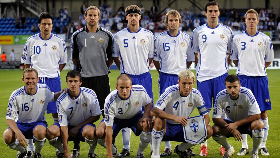 Finland's national football team (L to R) above: Jari Litmanen, goalkeeper Jussi Jaaskelainen, Hannu Tihinen, Markus Heikkinen, Berat Sadik and Niklas Moisander. Below: (L to R) Jonatan Johansson, Roman Eremenko, Petri Pasanen, Sami Hyypia and Alexei Eremenko pose prior to their World Cup 2010 qualifier football game versus Liechtenstein, on September 9, 2009 in Vaduz.  AFP PHOTO / FABRICE COFFRINI (Photo credit should read FABRICE COFFRINI/AFP/Getty Images)