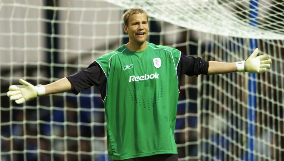 OLDHAM, ENGLAND - JULY 27: Jussi Jaaskelainen of Bolton in action during the Pre-Season friendly match between Oldham Athletic and Bolton Wanderers at Boundary Park on July 27, 2004 in Oldham, England.  (Photo by Matthew Lewis/Getty Images)