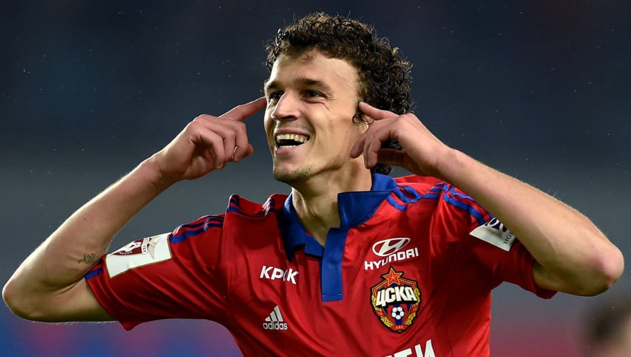 KHIMKI, RUSSIA - MAY 16: Roman Eremenko of PFC CSKA Moscow celebrates after scoring a goal during the Russian Premier League match between PFC CSKA Moscow and FC Krasnodar at the Arena Khimki Stadium on May 16, 2016 in Khimki, Russia. (Photo by Epsilon/Getty Images)