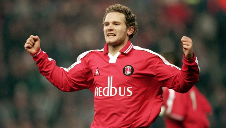 30 Dec 2000:  Jonatan Johansson of Charlton Athletic celebrates his second goal during the FA Carling Premiership match against Manchester City played at Maine Road, in Manchester, England. Charlton Athletic won the match 4-1. \ Mandatory Credit: Alex Livesey /Allsport