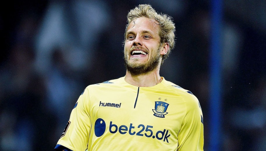 Broendby Teemu Pukki celebrates after scoring during the qualifying football match of the UEFA Europa League between Broendby IF and Hertha Berlin at Broendby Stadium, in Broendby on August 4, 2016. / AFP / Scanpix / Liselotte Sabroe / Denmark OUT        (Photo credit should read LISELOTTE SABROE/AFP/Getty Images)