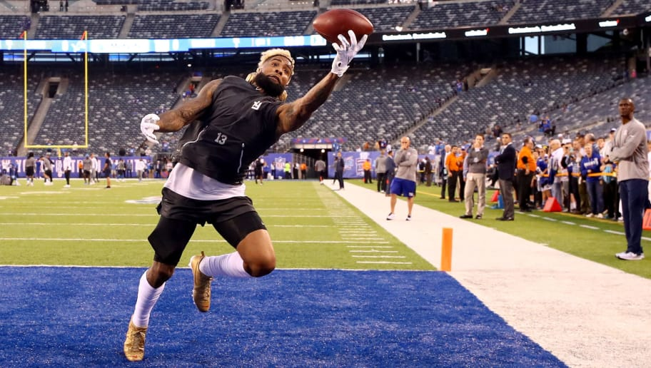 EAST RUTHERFORD, NJ - SEPTEMBER 18:  Odell Beckham Jr. #13 of the New York Giants warms up prior to their game against the Detroit Lions at MetLife Stadium on September 18, 2017 in East Rutherford, New Jersey.  (Photo by Al Bello/Getty Images)