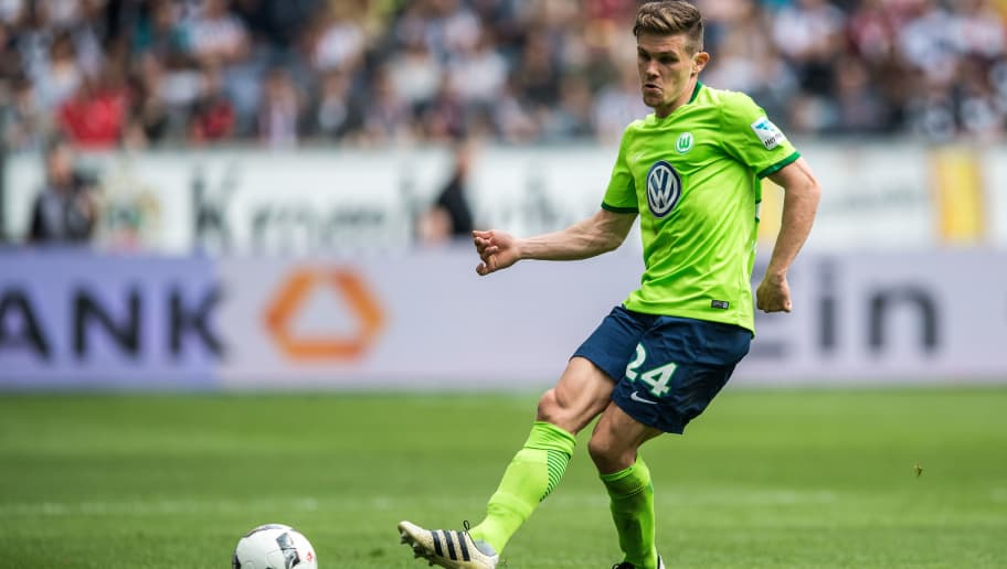 FRANKFURT AM MAIN, GERMANY - MAY 06: Sebastian Jung of Wolfsburg in action during the Bundesliga match between Eintracht Frankfurt and VfL Wolfsburg at Commerzbank-Arena on May 6, 2017 in Frankfurt am Main, Germany. (Photo by Lukas Schulze/Bongarts/Getty Images)