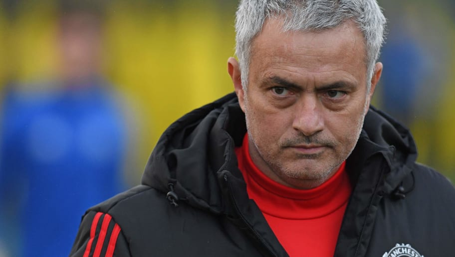 Manchester United's Portuguese manager Jose Mourinho takes a team training session at the club's training complex near Carrington, west of Manchester in north west England on December 4, 2017, on the eve of their UEFA Champions League Group A football match against CSKA Moscow. / AFP PHOTO / Paul ELLIS        (Photo credit should read PAUL ELLIS/AFP/Getty Images)