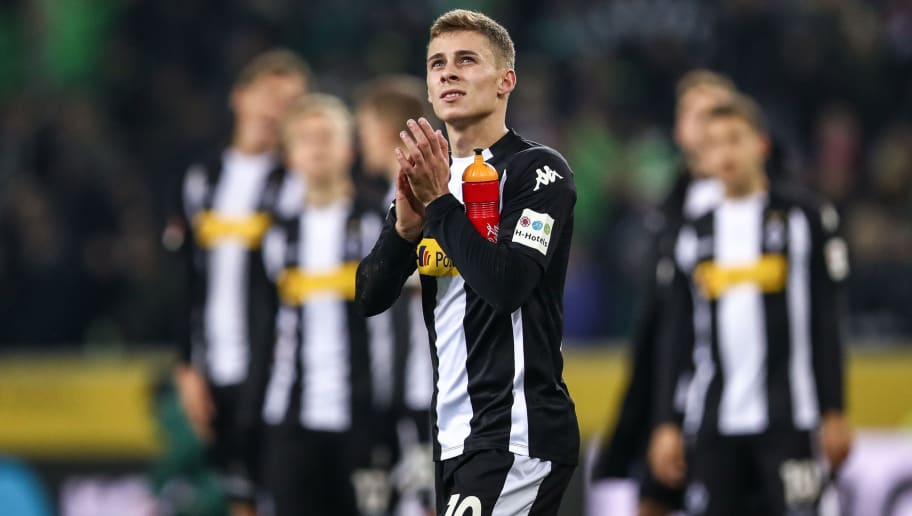 MOENCHENGLADBACH, GERMANY - NOVEMBER 25: Thorgan Hazard of Moenchengladbach applauses after the Bundesliga match between Borussia Moenchengladbach and FC Bayern Muenchen at Borussia-Park on November 25, 2017 in Moenchengladbach, Germany. (Photo by Maja Hitij/Bongarts/Getty Images)