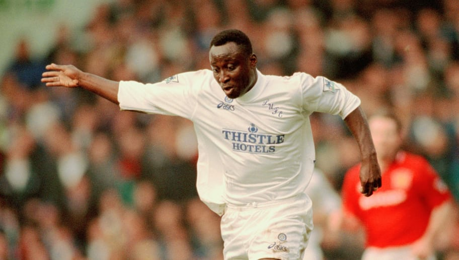 Ghanaian footballer Tony Yeboah playing for Leeds United in an English Premier League match against Manchester United at Elland Road, Leeds, 24th December 1995. Leeds won the match 3-1. (Photo by Clive Brunskill/Getty Images)