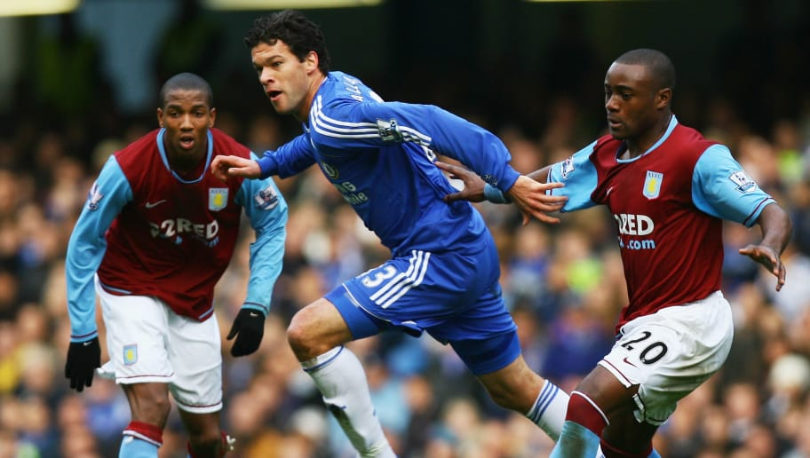 LONDON - DECEMBER 26:  Michael Ballack (C) of Chelsea pulls away from Nigel Reo-Coker (R) of Aston Villa during the Barclays Premier League match between Chelsea and Aston Villa at Stamford Bridge on December 26, 2007 in London, England.  (Photo by Ian Walton/Getty Images)