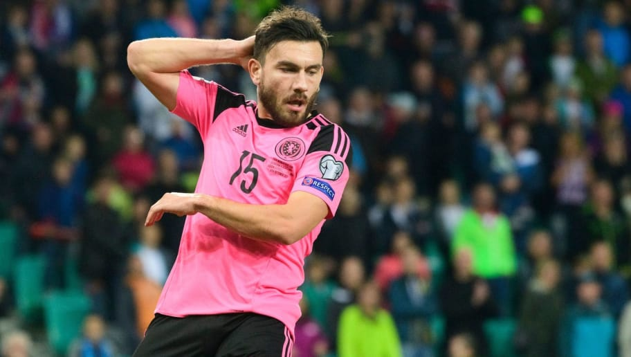 Scotland's Robert Snodgrass reacts after missing a goal during the FIFA World Cup 2018 qualifier football match between Slovenia and Scotland at the Stozice stadium in Ljubljana, on October 8, 2017. / AFP PHOTO / Jure Makovec        (Photo credit should read JURE MAKOVEC/AFP/Getty Images)