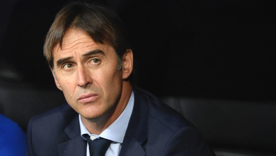 Spain's coach Julen Lopetegui looks on before the World Cup 2018 qualifier football match Spain vs Italy at the Santiago Bernabeu stadium in Madrid on September 2, 2017. / AFP PHOTO / GABRIEL BOUYS        (Photo credit should read GABRIEL BOUYS/AFP/Getty Images)