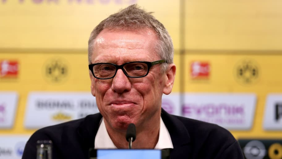 DORTMUND, GERMANY - DECEMBER 10:  Head coach Peter Stoeger is presented as the new head coach of Dortmund during the press conference at Signal Iduna Park on December 10, 2017 in Dortmund, Germany.  (Photo by Christof Koepsel/Bongarts/Getty Images)