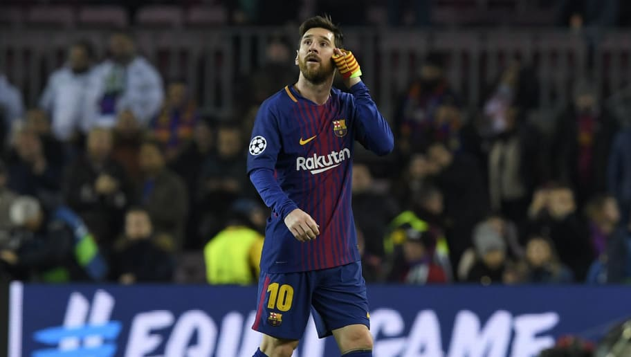 Barcelona's Argentinian forward Lionel Messi reacts at the end of the UEFA Champions League football match FC Barcelona vs Sporting CP at the Camp Nou stadium in Barcelona on December 5, 2017. / AFP PHOTO / LLUIS GENE        (Photo credit should read LLUIS GENE/AFP/Getty Images)