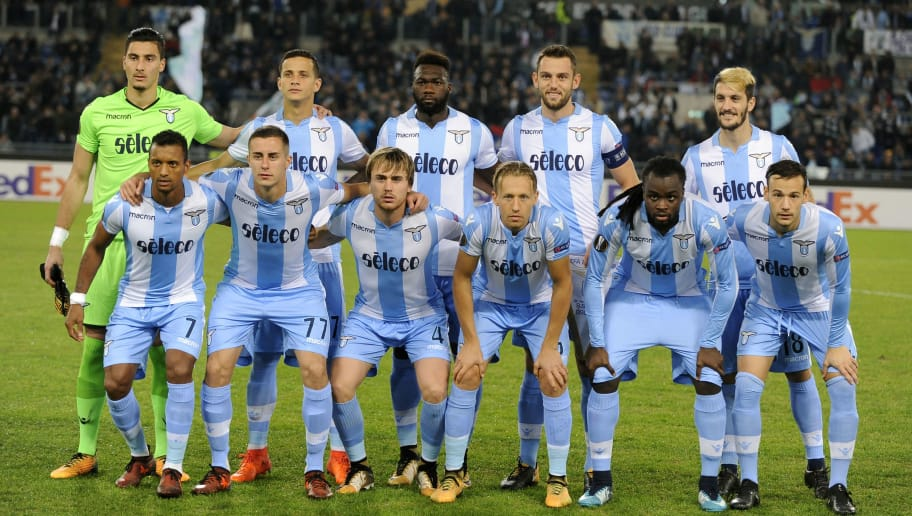 ROME, ROMA - NOVEMBER 02:  SS Lazio players pose photo before the UEFA Europa League group K match between Lazio Roma and OGC Nice at Stadio Olimpico on November 2, 2017 in Rome, Italy.  (Photo by Marco Rosi/Getty Images)