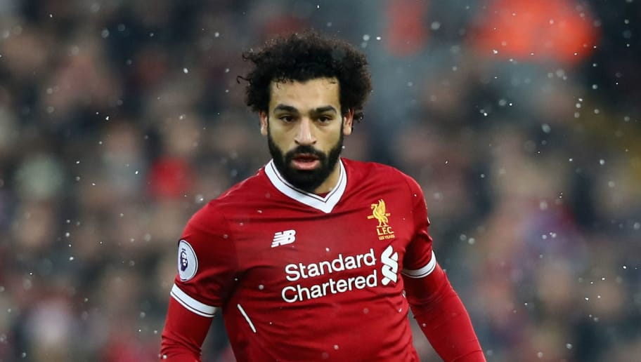 LIVERPOOL, ENGLAND - DECEMBER 10:  Mohamed Salah of Liverpool in action during the Premier League match between Liverpool and Everton at Anfield on December 10, 2017 in Liverpool, England.  (Photo by Clive Brunskill/Getty Images)