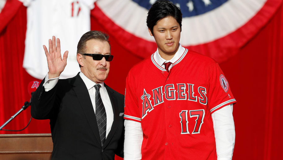 ANAHEIM, CA - DECEMBER 09:  Los Angeles Angels of Anaheim owner Arte Moreno introduces Shohei Ohtani to the Los Angeles Angels of Anaheim at Angel Stadium of Anaheim on December 9, 2017 in Anaheim, California.  (Photo by Josh Lefkowitz/Getty Images)