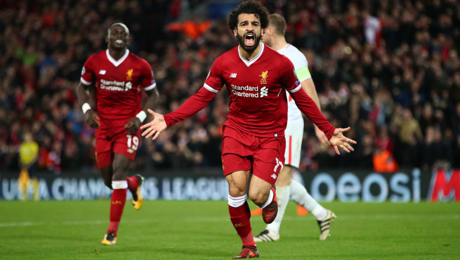 LIVERPOOL, ENGLAND - DECEMBER 06:  Mohamed Salah of Liverpool celebrates after scoring his sides seventh goal during the UEFA Champions League group E match between Liverpool FC and Spartak Moskva at Anfield on December 6, 2017 in Liverpool, United Kingdom.  (Photo by Clive Brunskill/Getty Images)